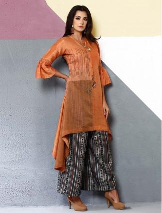 Rust orange designer kurti set