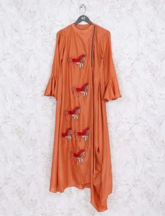 Rust orange festive wear cotton kurti