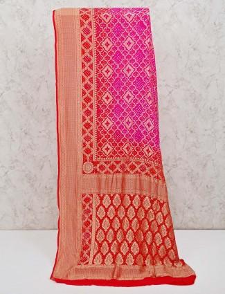 Saree in printed magenta bandhej fabric