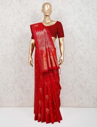 Saree in red pure silk