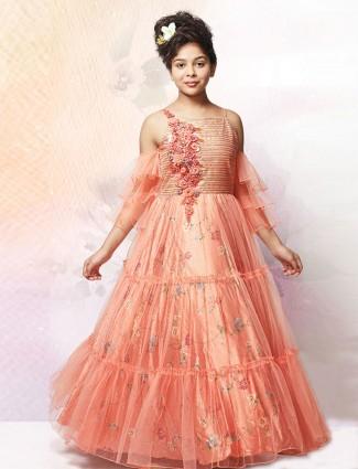 Satin peach square neck floor length gown