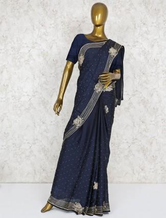 Satin silk navy blue party saree