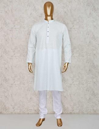 Sea green cotton mens kurta suit