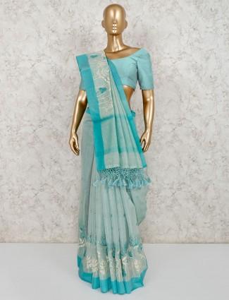 Sea green cotton saree for pretty womens