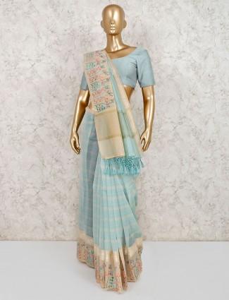 Sea green cotton sari