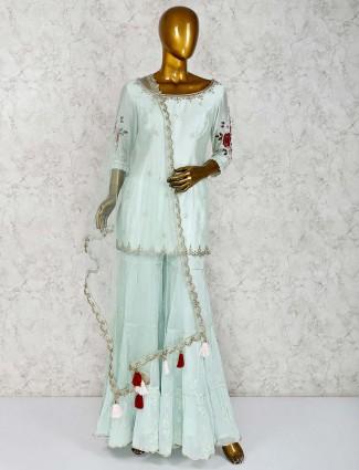 Sea green cotton silk beautiful gharara suit
