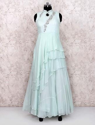 Sea green cotton silk designer floor length gown