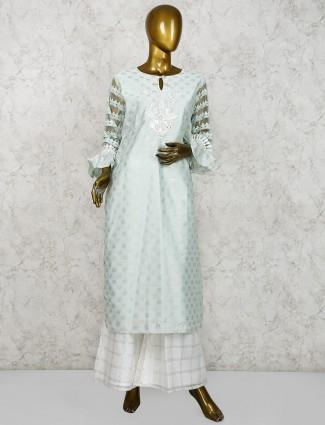 Sea green cotton silk festive punjabi palazzo suit