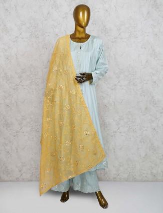 Sea green cotton silk round neck punjabi palazzo suit