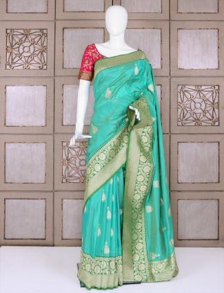 Sea green designer pure banarasi silk saree
