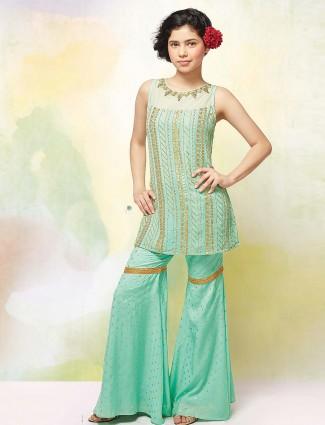 Sea green hue festive wear punjabi sharara suit