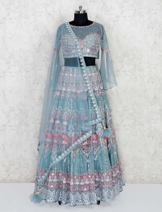 Sea green lehenga choli in wedding or party wear