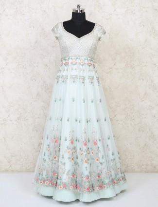 Sea green net exclusive floor length gown