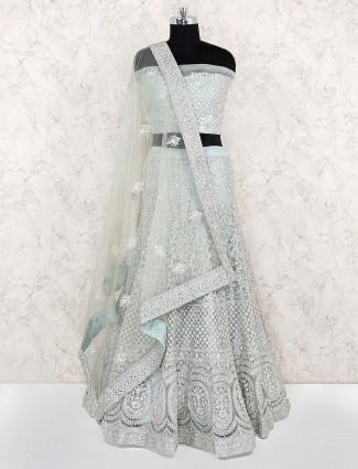Sea green net fabric party semi stitched lehenga choli