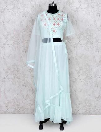 Sea green party wear cotton silk designer lehenga choli