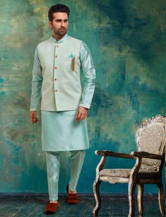 Sea green party wear raw silk waistcoat set
