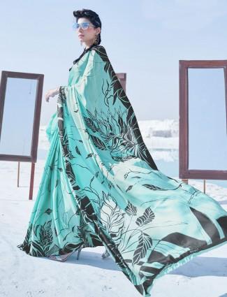Sea green printed satin saree for festive season