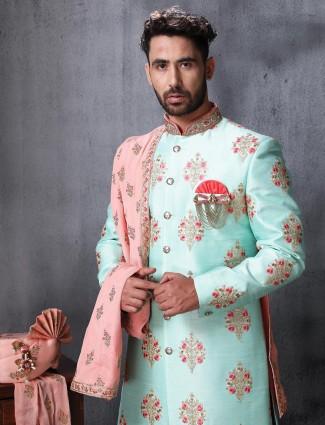 Sea green raw silk fabric indo western
