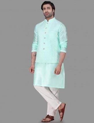 Sea green raw silk mens waistcoat set