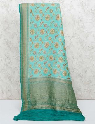 Sea green reception wear saree in banarasi silk