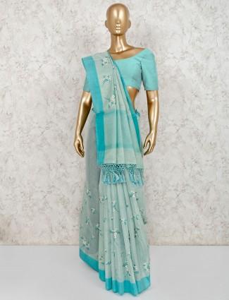 Sea green reception wear saree in cotton