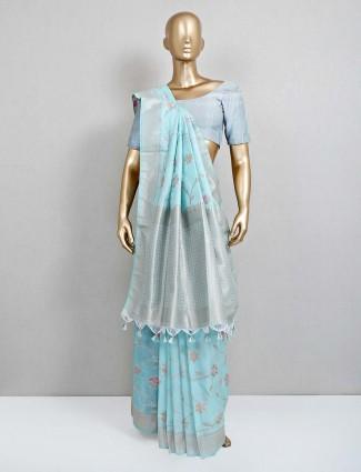 Sea green saree in semi banarasi silk