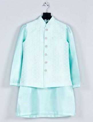 Sea green silk boys waistcoat kurta for parties