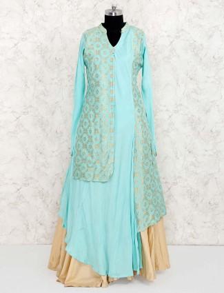 Sea green silk festive lehenga cum salwar suit