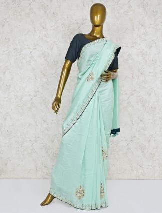 Semi silk aqua green wedding saree