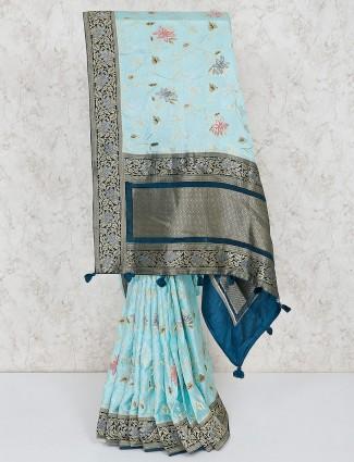 Semi silk aqua pretty saree