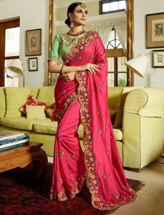 Semi silk fabric classic magenta color saree