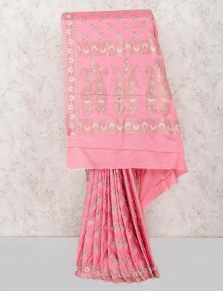 Semi silk fabric pink color wedding saree