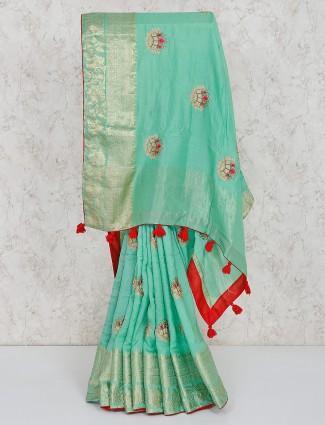 Semi silk green lovely saree