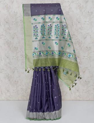 Semi silk grey festive saree