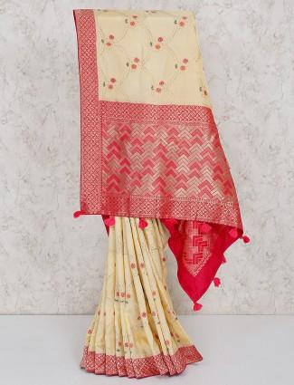 Semi silk light yellow festive wear saree