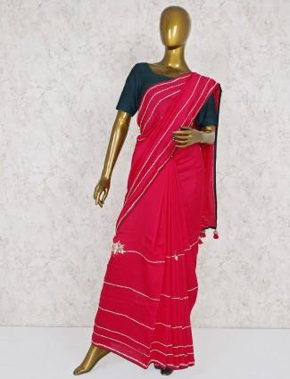 Semi silk magenta festive saree