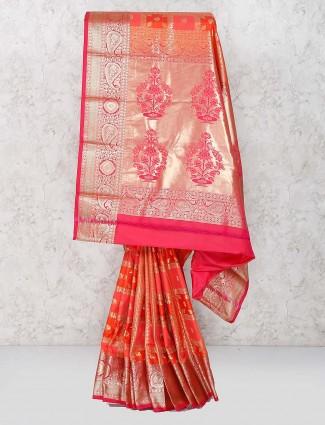 Semi silk peach color saree