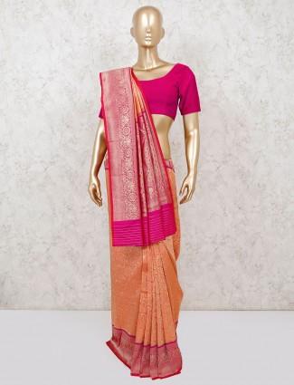 Semi silk peach reception saree