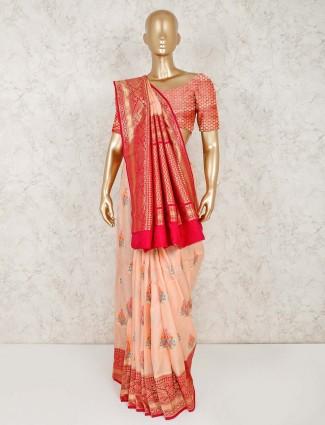 Semi silk peach wedding saree