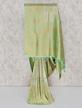 Semi silk saree in light green