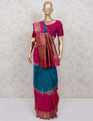 Semi silk saree in rama green and magenta