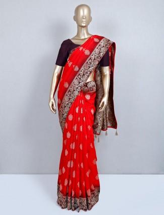 Semi silk wedding wear red saree