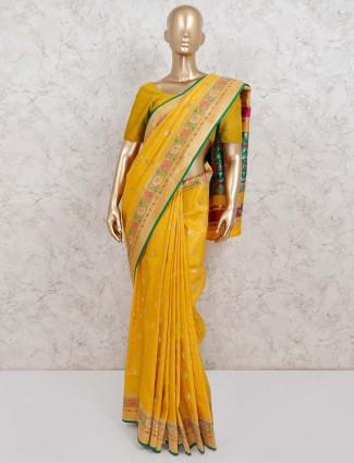 Semi silk wedding wear yellow saree
