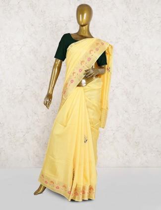 Semi silk wedding yellow saree