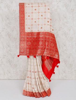Semi silk white hue saree