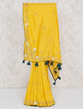Semi silk yellow saree for festive occasion