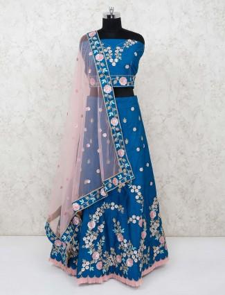 Semi stitched blue lehenga choli in raw silk