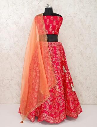 Semi stitched magenta silk wedding lehenga choli