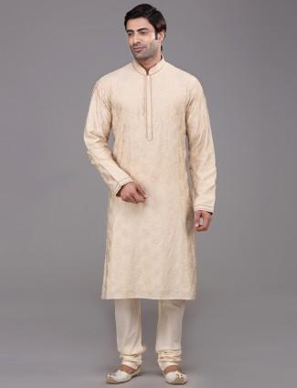 Silk beige festive mens kurta suit