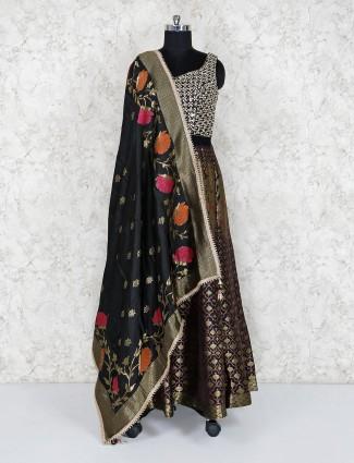 Silk black floor length anarkali salwar suit